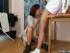 60 years old granny rides his meat