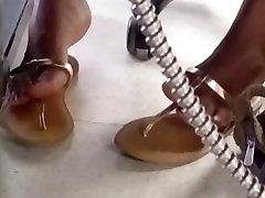 Candid Ebony Feet in Computer Lab