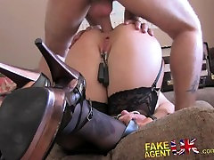 FakeAgentUK Double penetration for big titted Blonde in BDSM style casting