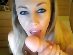 Busty blonde MILF fucks her pussy and ass with dildo on webcam