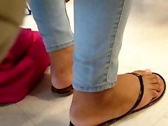 Classmates Candid Ebony Feet in Class