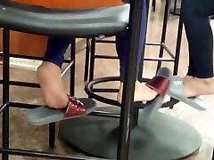 Candid Asian Feet in Cafeteria