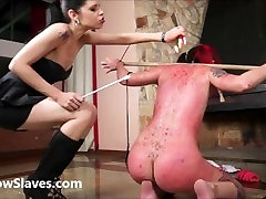 Karina cruels lesbian bdsm of latina slave girl Cary in harsh whipping