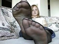 Chubby Teen Pantyhosed Feet