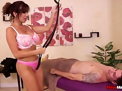 Big-titted lady mean treatment