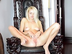 Blonde MILF Squirts Many Times All Over Chair
