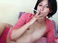 Persian Smoking Cigarette with Tiny Tits on Webcam