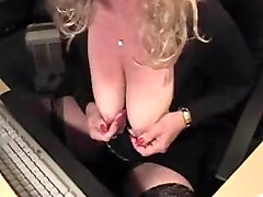 Busty Blonde Mature Playing Wit Her Big Nipples