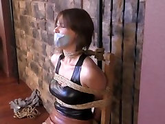 Leather spy bound and gagged