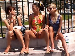 Three girls pissing and wetting in public in france