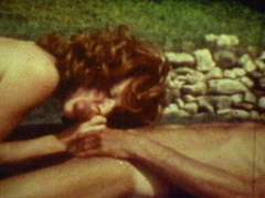 Outdoor vintage pool sex party