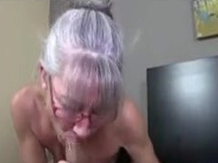 Find her on MATURE-FUCKS.COM - Skinny greyhaired granny sucks cock