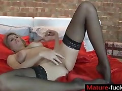Find her on MATURE-FUCKS.COM - MILF plays with dildo in stockings