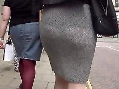 See through grey skirt and thong