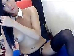 Hot tranny jerk off and cum - Shemaleporn4u.com