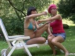Lesbian mom girl outdoor orgy