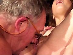 Cutie school girl first time fucking old man closeup cum swallow