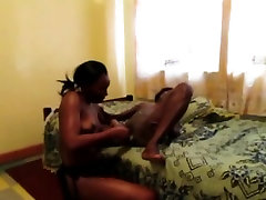 Ebony African amateur lesbians dildo shaved cunt