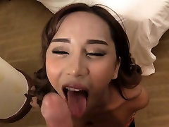 Enhanced tits ladyboy gets anal rammed bareback in bed
