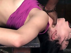 White and black dudes drill nasty chick Aria Alexander in the bdsm room