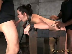 Bent over wooden stuff submissive bitch with pinned nipples is fucked hard
