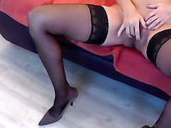 Anon nympho in black stockings masturbates and gets fucked doggy style