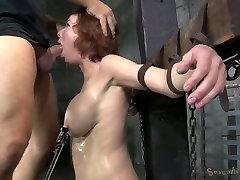 Bosomy ginger mom got her mouth destroyed in hard BDSM style