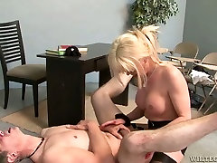 Dirty shemale teacher and college principle having sex fun on a table