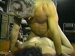 One thirsting mature stud doggy fucks two wanton hookers in his office hard