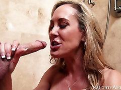 Busty mature woman Brandi Love sucks Seth Gambles cock like mad