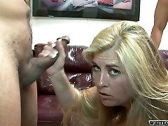 Chesty blonde slut gets gangbanged by huge cocks