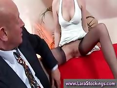 Mature in stockings given oral