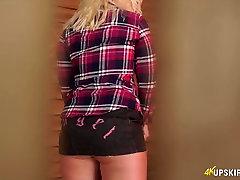 Sexy bitch Nikki Lee is caught flashing her panties under miniskirt