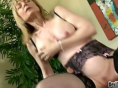 Mature madame in stockings Nina Hartley gets her snatch banged well