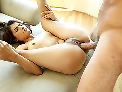 Brunette angel with small tits loves hard fuck with her horny lover