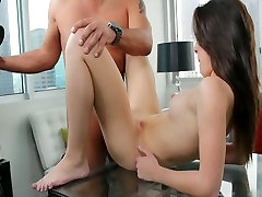 Small titted brunette beauty Natalie pleases a hot dude in porn casting