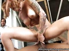 Tattooed Scarlett Pain gobbles down a huge dick