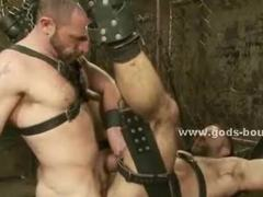 Gay stud spanked and tortured by pervert master in leather screaming of pleasure in bdsm sex