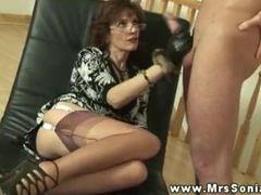 Hot busty BDSM masture mature wanking cock