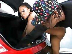 Hot Ebony Fucked In The Trunk