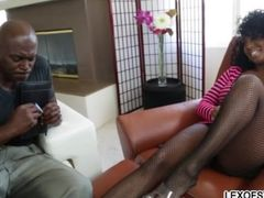 Busty ebony chick gets slammed by a monster cock and receives facial