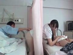 Horny dark haired Asian nurse
