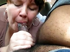 Chubby Mature Gives This Black Guy A Nice Blowjob