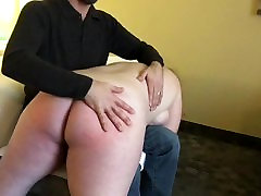 Maggie receives a spanking from her Sir