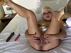 Blonde mature mom and her big dildo