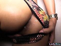 Ladyboy with beautiful face gets her ass stuffed bareback