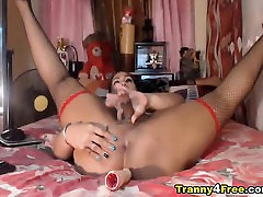 Sexy Hot Tranny Plays Her Hard Ladycock