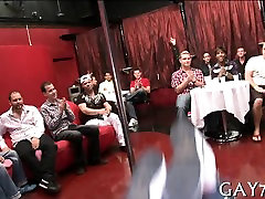 Hot young lad sucking stripper jock at party