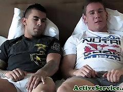Military hunk blown by army stud