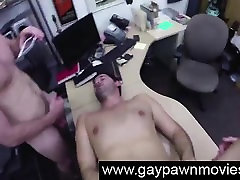 Guy ass fucked in gay threesome for cash on camera